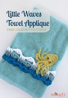 Little Waves #Crochet Towel Applique - free pattern from Mooglyblog.com