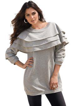 Tiered Ruffle Sweatshirt | Plus Size Tops and Tees | Roamans