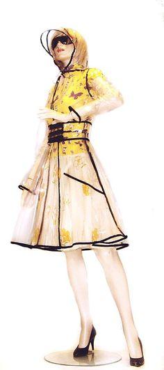 PVC Plastic Transparent Trench Raincoat dress Coat Clear with Black Trim