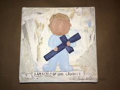 Items similar to Baptism Boy Gift, Original Painting, Art direct from the Artist on Etsy Baptism Gifts For Boys, Boy Baptism, Blue Tones, Neutral Tones, Original Artwork, Original Paintings, 1 John, Wrapped Canvas, Banner