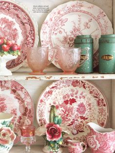 Red Transferware, Pink Depression with touches of aqua - kitchen hutch