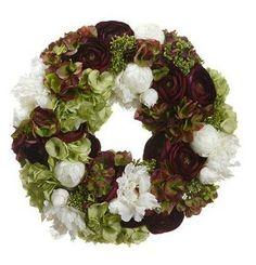 Hydrangea Ranunculus Peony Skimmia Wreath in by simplyserra, $215.00