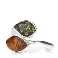 Amber Bypass ring, green & orange, Sterling Silver