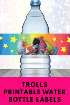Trolls printable water bottle labels perfect for our Trolls Birthday Party #trolls #birthdayparty #poppy #printable #ad