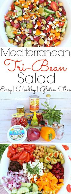 The BEST Mediterranean Tri-Bean Salad   This healthy and easy three bean vegetable salad has all the right flavors. The light and tangy dressing is the icing on the cake in this gluten-free recipe. Canned black, kidney, and garbanzo (chickpeas) beans combine with fresh cucumber, tomatoes, and peppers to produce a clean eating side dish or vegetarian meal. Low carb recipes like this are exactly what you need if weight loss is a goal!