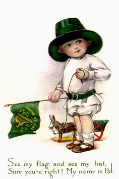 These free vintage St. Patrick's Day greeting cards feature cute kids celebrating the holiday by wearing green, dancing, waving the Irish flag, having parades and even kissing! Vintage Greeting Cards, Vintage Postcards, Vintage Images, Vintage Ephemera, St Patricks Day Cards, Saint Patricks, Erin Go Bragh, St Patrick's Day Crafts, Irish Boys