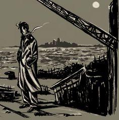 Studio per una prima idea di copertina per L'illusione della terraferma. China su cartoncino, fx. 2012