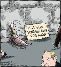 Speed Bump: mosquitos outed as zombies! Science Cartoons, Science Humor, Funny Cartoons, Funny Comics, Speed Bump Comic, History Cartoon, Jokes Images, Funny Me, Funny Stuff