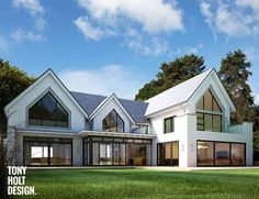 I like the multiple gable ends. One dominant and others reflecting that. Tony Holt Design_Oxshott Rise_Remodel_Index. Bungalow Extensions, House Extensions, Dream House Exterior, Dream House Plans, Style At Home, Dormer Bungalow, Bungalow Renovation, Facade House, House Goals