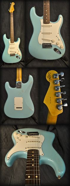 Fender Custom Shop Strat Pro Relic Electric Guitar in Daphne Blue