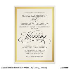 Elegant Script Flourishes Wedding Card - One of our most popular wedding invitations with elegant script flourishes surrounded by a wide golden frame. Sold at Oasis_Landing on Zazzle.
