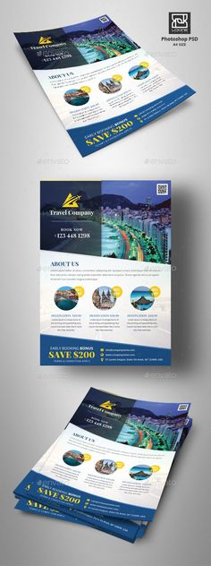 Buy Travel Flyer by Loone on GraphicRiver. Creative Flyer Design, Creative Flyers, Club Flyers, Event Flyers, Flyer Poster, Travel Companies, Company Profile, Holidays And Events, Flyer Template