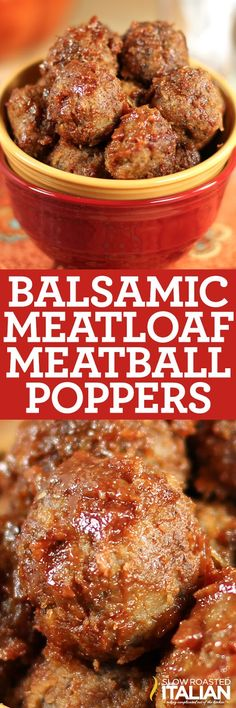 Balsamic Glazed Meatloaf Meatball Poppers are our number 1 all time best meatloaf in popabel form. Looking for the perfect popable dinner? These meatball poppers surely fit the bill! Best Meatloaf, Meatloaf Recipes, Meat Recipes, Cooking Recipes, Healthy Recipes, Lamb Recipes, Meatball Recipes, Cooking Ideas, Delicious Recipes