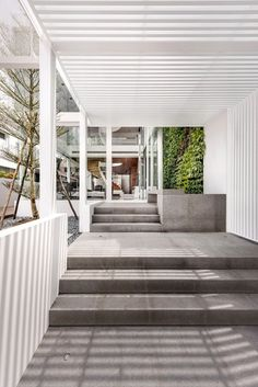 White translucent box forms Singapore residence by Park+Associates Architects Tropical Architecture, Space Architecture, Architecture Details, Covered Walkway, Entry Stairs, White Pergola, Hotel Interiors, Design Studio, House Front