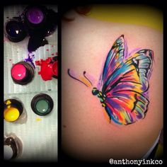 Anthony washington @ the ink company colorful butterfly tattoo, butterfly wrist tattoo, butterfly watercolor Watercolor Butterfly Tattoo, Colorful Butterfly Tattoo, Butterfly Wrist Tattoo, Butterfly Tattoo Designs, Watercolor Tattoos, Tattoo Feather, Body Art Tattoos, New Tattoos, Small Tattoos