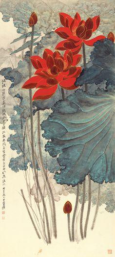 Lotus - Gold Lines - by  Zhang Daqian (1899-1983), Taiwan