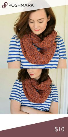 Beautiful Orange and Navy Infinity Scarf The perfect infinity scarf for those fall and winter months! Excellent condition. Would look great under a coat for extra warmth or thrown over a tshirt for a finished look. Accessories Scarves & Wraps