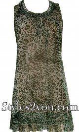 Pretty Angel Clothing Animal Print Tunic With Beaded Neckline