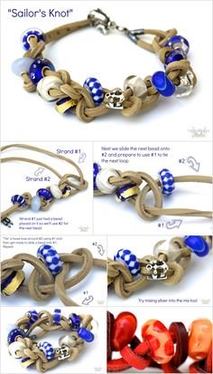 """Sailor's Knot"" Tutorial!  Blog post here: http://www.trollbeadsstudio.com/2013/07/sailors-knot-leather-bracelet-picture-tutorial/#.UfliFVPkqmF"