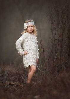 long sleeve crochet country flower girl dress / http://www.deerpearlflowers.com/flower-girl-dresses-for-country-weddings/