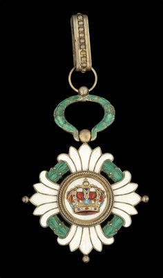 Yugoslavia, Kingdom, Order of the Crown, Commander's neck Badge, 76mm including wreath suspension x 55mm, silver-gilt and enamel