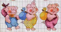Baby Cross Stitch Patterns, Cross Stitch Baby, Cross Stitch Animals, Cross Stitch Charts, Cross Stitch Designs, Cross Stitching, Cross Stitch Embroidery, Baby Motiv, Pig Crafts