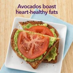 Avocado-Tomato Open-Face Sandwich...  Mash 1/4 of a peeled avocado and stir in a dash of garlic salt. Spread onto a slice of toasted whole grain bread and top with a couple of tomato slices for a snack that is packed with flavor and fiber. Even with the generous amount of avocado, this snack contains only 150 calories. (via Diabetic Living at diabeticlivingonline.com)