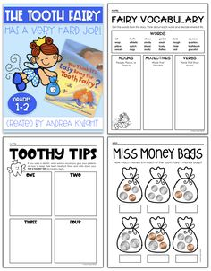 My kids love this spunky version of the Tooth Fairy . she's a great example of a character with goals and confidence! This set includes student sheets that extend the learning for reading, writing, and math. Organization And Management, Classroom Organization, Hands On Activities, Learning Activities, Dental Health Month, Nouns And Adjectives, Primary Resources, First Grade Teachers, Healthy Teeth