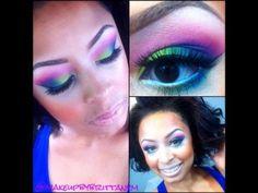 Rainbow Eyes using BH Cosmetics HOLLYWOOD Palette - YouTube