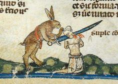 Rabbits killing men in The Smithfield Decretals, c. 1300