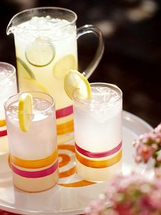 Add bands of color to a clear plastic pitcher and tumblers using glass paints and a narrow brush