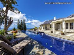 Vast outdoor living with infinity-edge pool and hot tub #backyard