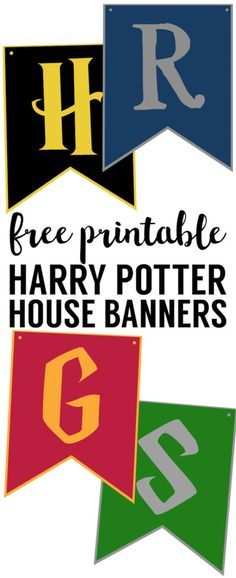 Harry Potter House Banners Free Printable. Hogwarts Crest printable. Hogwarts house banner pennant or Hogwarts signs are fun Harry Potter party decorations.