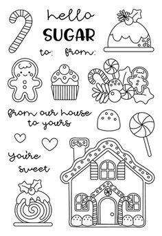 Sweeten up your Christmas crafts this year with the Santa's Sweets Clear Photopolymer Stamps from the Christmas Magic Collection by Doodlebug Design. Christmas Doodles, Christmas Drawing, Christmas Colors, Christmas Art, Christmas Design, Adult Coloring Pages, Coloring Books, Free Christmas Coloring Pages, Christmas Coloring Sheets