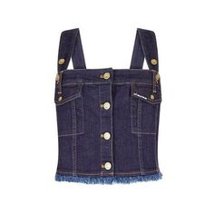 Lee Dungaree Top – House of Holland (345 BRL) ❤ liked on Polyvore featuring tops, blue top and house of holland