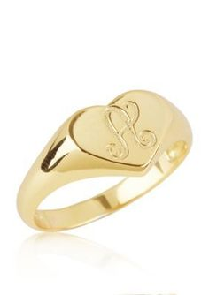 Argento Vivo  A Initial Heart Signet Ring in 18k Yellow Gold over Ster