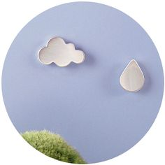 Weather Studs | sterling silver cloud and raindrop stud earrings | mismatched