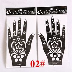 1 Pair (2pcs) Henna Hand Tattoo Stencil,Flower Glitter Airbrush Mehndi Henna Tattoo Stencils Templates For Body Paint 20*11cm