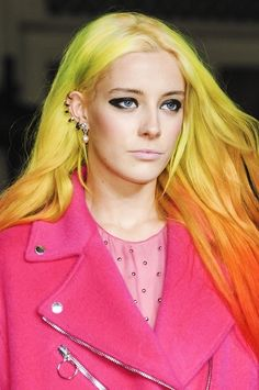 Chloe Norgaard bright ombre green to orange hair... amazing!