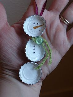 Bottle Cap Snowman   Materials:    3 bottle caps   ribbon   acrylic paint   permanent marker   orange scrap paper   embellishments (if desired)   hot glue   optional magnet dots   Paint the bottle caps with several coats of white acrylic paint.