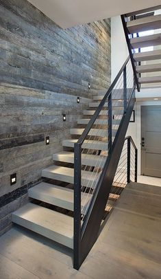 Mountainside Town Home by Forum Phi Architecture stair Tagged: Staircase, Wood Tread, Metal Railing, and Cable Railing. Mountainside Town Home by Forum Phi Architecture Open Basement Stairs, Metal Stairs, Open Staircase, Floating Staircase, Staircase Railings, Modern Stairs, Stairways, Staircase Ideas, Basement Ideas