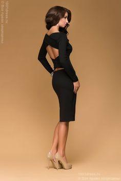 Купить черное трикотажное платье с длинными рукавами и открытой спиной в интернет-магазине 1001DRESS