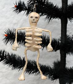 Spun Cotton Skeleton Ornament by oldworldprimitives, via Flickr