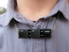Recycled Upcycled CTRL ALT DELETE Computer Keyboard Key Geeky Unisex Unique Necklace by LostCauseRevival on Etsy