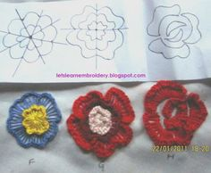 Frilled buttonhole flowers - there is a link from this page to the actual tutorial. I just liked the look of these 3 specimens.
