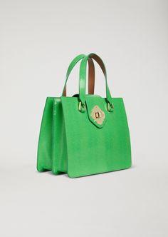 Emporio Armani Lizard Print Leather Handbag - Green
