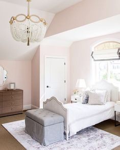 "This room is as sweet as the paint color -- ""Melted Ice Cream"" by Benjamin Moore. We just posted a few rooms from our #foothilldriveproject on the blog today!!!! Click the link in our profile to shop the pic and check out the blog post!"