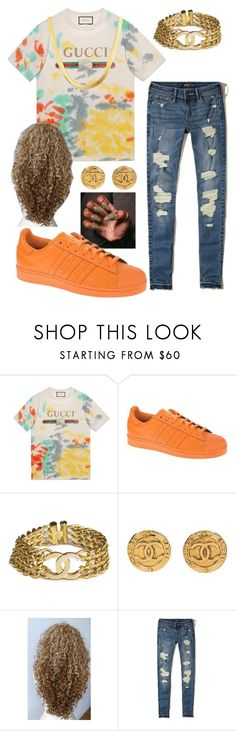 """""""life's gucci"""" by thrillestmya ❤ liked on Polyvore featuring Gucci, adidas Originals, Chanel and Hollister Co."""