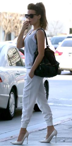 Trend Alert! Celebrities Wearing White Shoes: Kate Beckinsale made sweatpants sexy by amping them up with luxe milky Brian Atwood pointed toe pumps. #InStyle