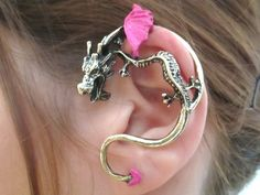 Fuchsia Dragon jewelry - Fuchsia dragon ear cuff wrap